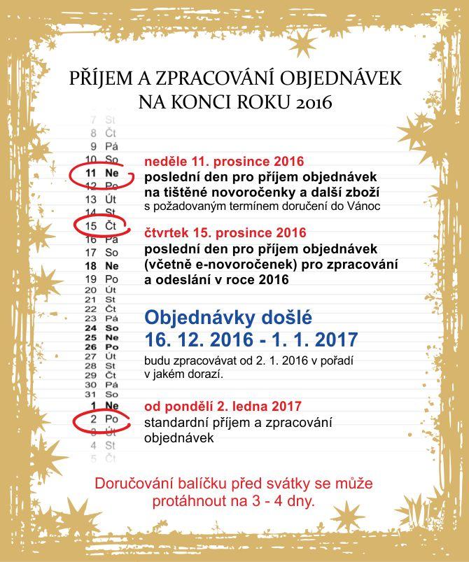 Příjem objednávek ns konci roku 2016
